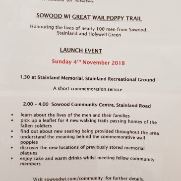 Sowood Women's Institute Great War Poppy Trail